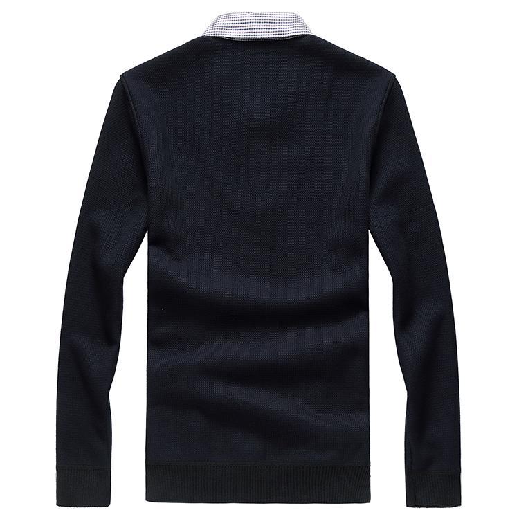 Thick Männer Pullover Fälschung zwei Stücke Warmhalte Herbst-Winter-beiläufige Art und Weise klassische Art mit Samt-Geschäft Brank