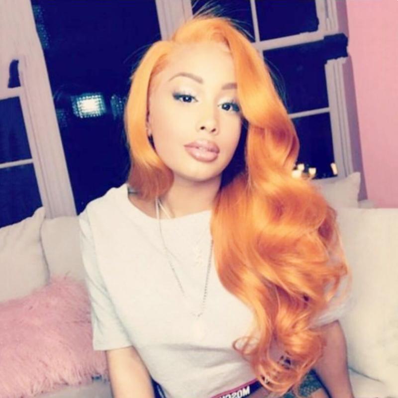 Envío gratis Cosplay Color naranja Largo cuerpo Onda del pelo Sin cola Cordones sintéticos del frente del cordón para las mujeres Hairline Natural 180% Densidad Fibra cabello