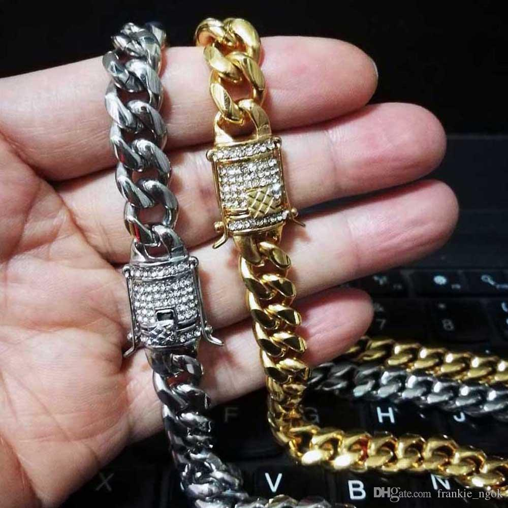 Men Women Miami Cuban Chain Necklace Stainless Steel Casting Double Safety Clasps & Diamond Curb Link Chains Hip Hop Jewelry 10mm 61cm/76cm