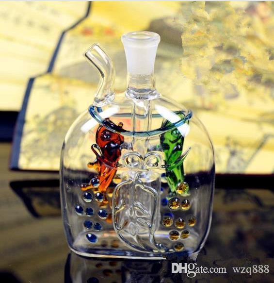 verre plat Poissons narguilé gros verre bong huile brûleur verre d'eau Pipes huile Fumeurs Rigs