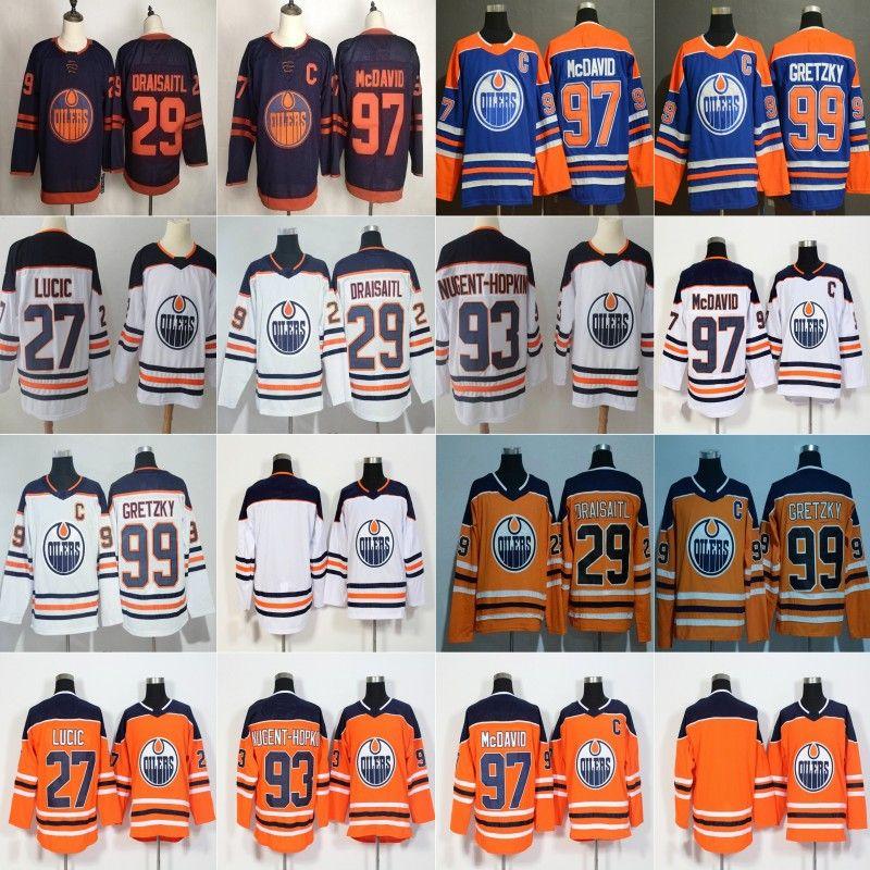 2020 الثالث ادمونتون مزيتات 29 ليون درايسايتل 97 كونور مكدافيد 99 اين Gretzky 27 ميلان لوسيتش 93 ريان نوجنت هوبكنز جيرسي الأزرق أورانج
