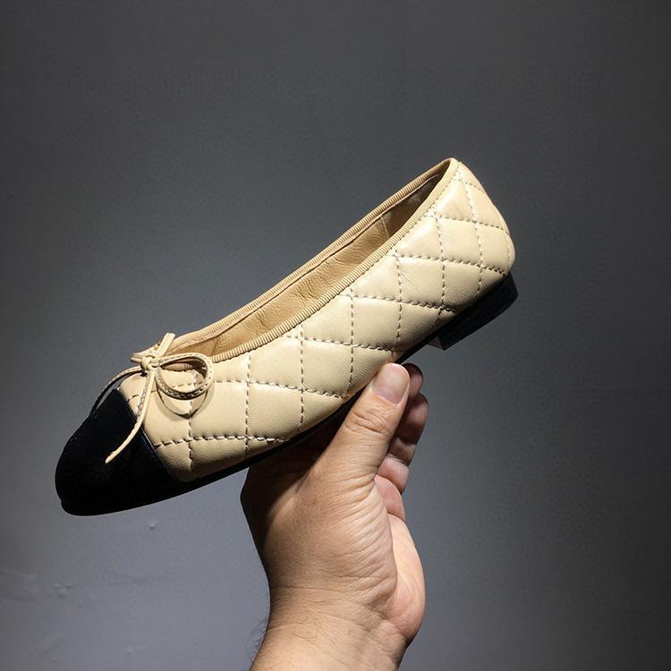 chaussures plates femmes bouche peu profonde en cuir tout autour de chaussures coccinelle dame arc ballet plat bowknot chaussures à semelle unique