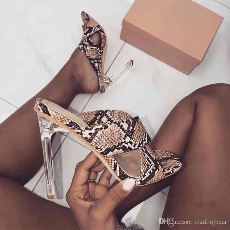 sexy animal printed transparent clear heels women designer sandals fashion luxury designer women shoes size 35 to 40