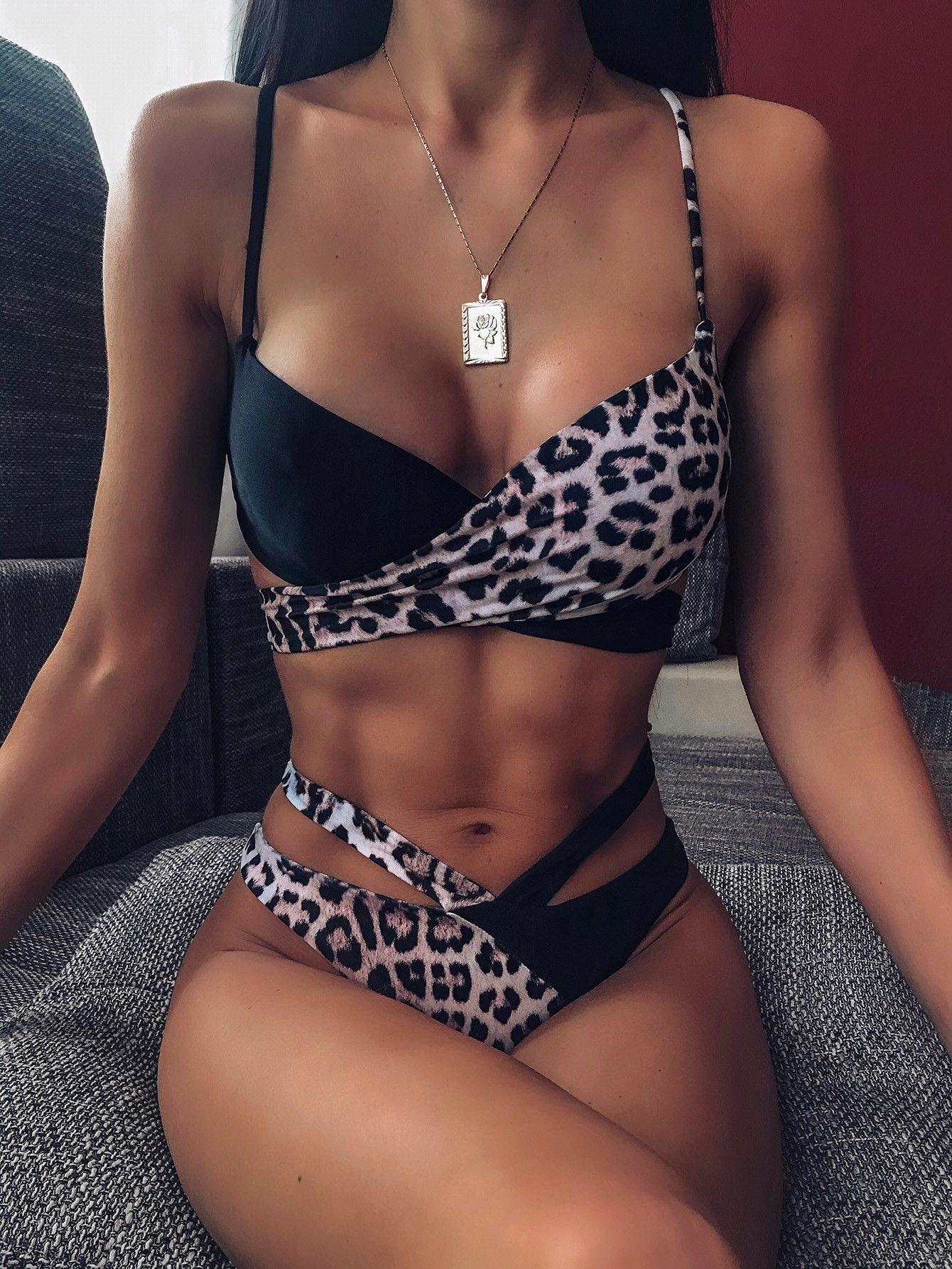 2020 Sexy Patchwork Mulheres cintura alta Bikini Swimsuit Swimwear Feminino Bandeau Thong Biquini brasileiro Bikini Set Terno Banhista