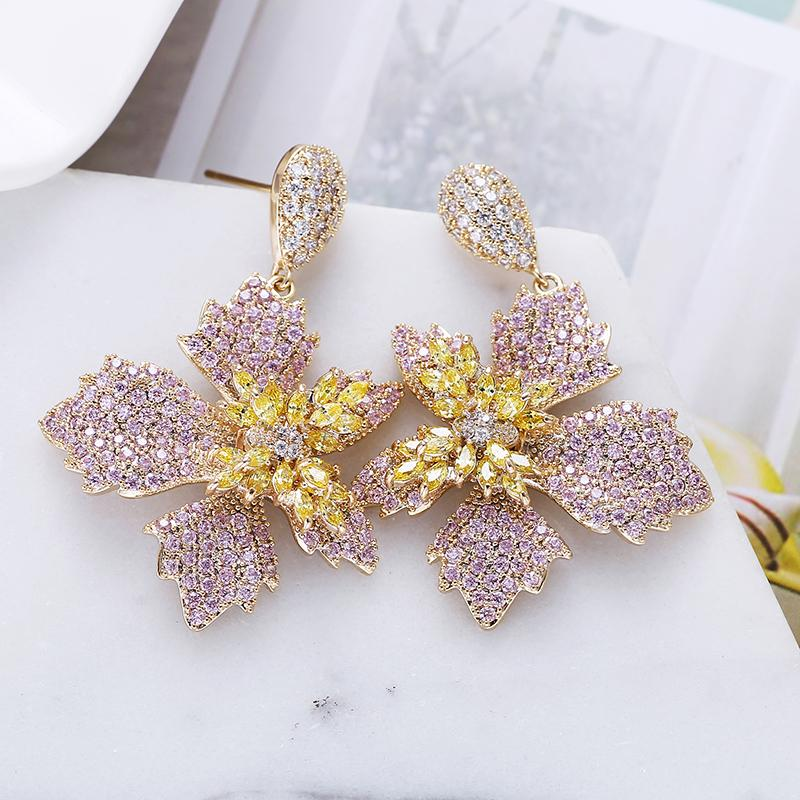Luxury Flower Drop Earrings Fashion Petal Design Paved Colorful Zircon Earrings for Women XIUMEIYIZU New Jewelry Export Brazil T200225