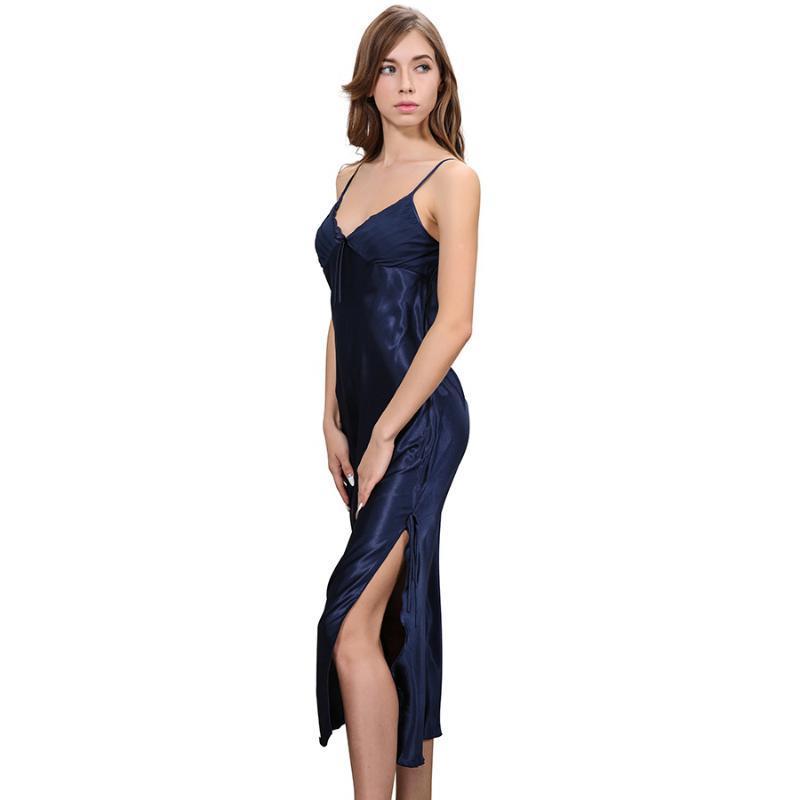 US $ 9.9 Uzun Saten Gecelik Kadınlar Gece Elbise pijamalar Ayak bileği-Uzunluk Spagetti Askı Seksi sabahlık Dantel