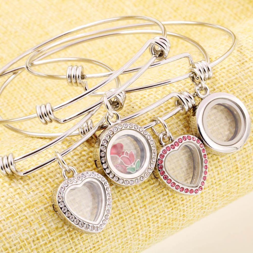 Economico fai da te medaglione galleggiante braccialetto di cristallo braccialetto medaglione con filo braccialetto espandibile in acciaio inox Raccordo con Charms galleggianti