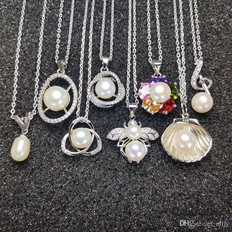 Kadın Kız 925 Gümüş Kolye 7-9mm Oblate Beyaz İnci NecklaceWedding Noel Hediye Moda Takı İnci kolye
