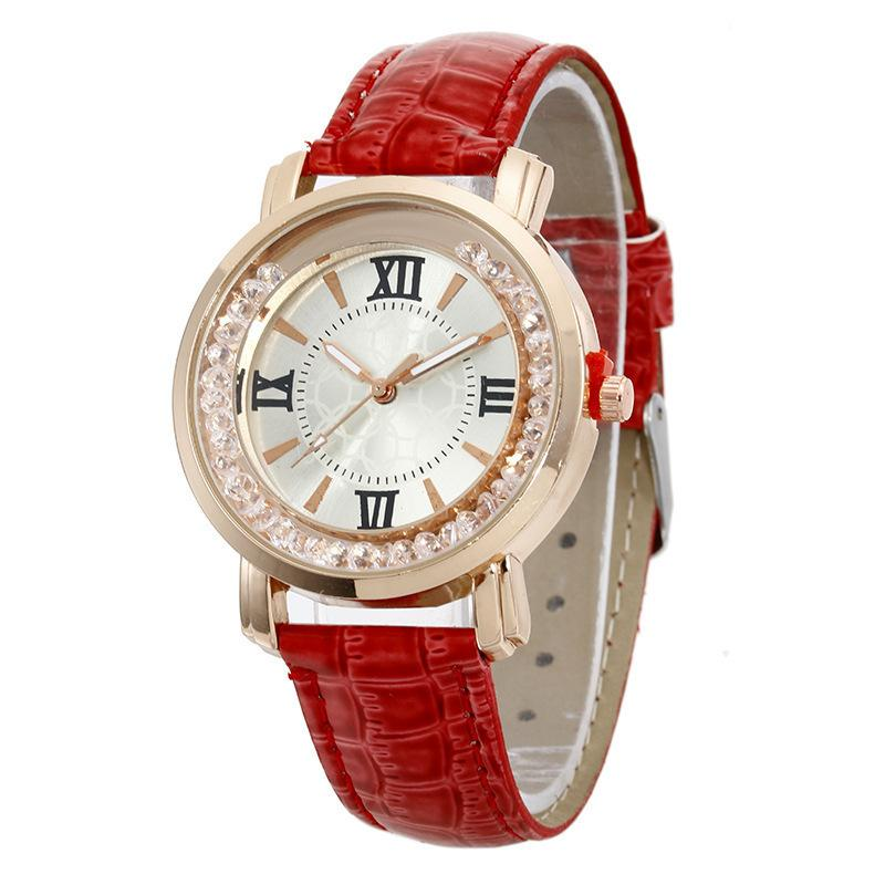 2020 Frauen Romantisches Stern-Uhr-Leder Strass Damenuhr einfaches Kleid Montre Femme