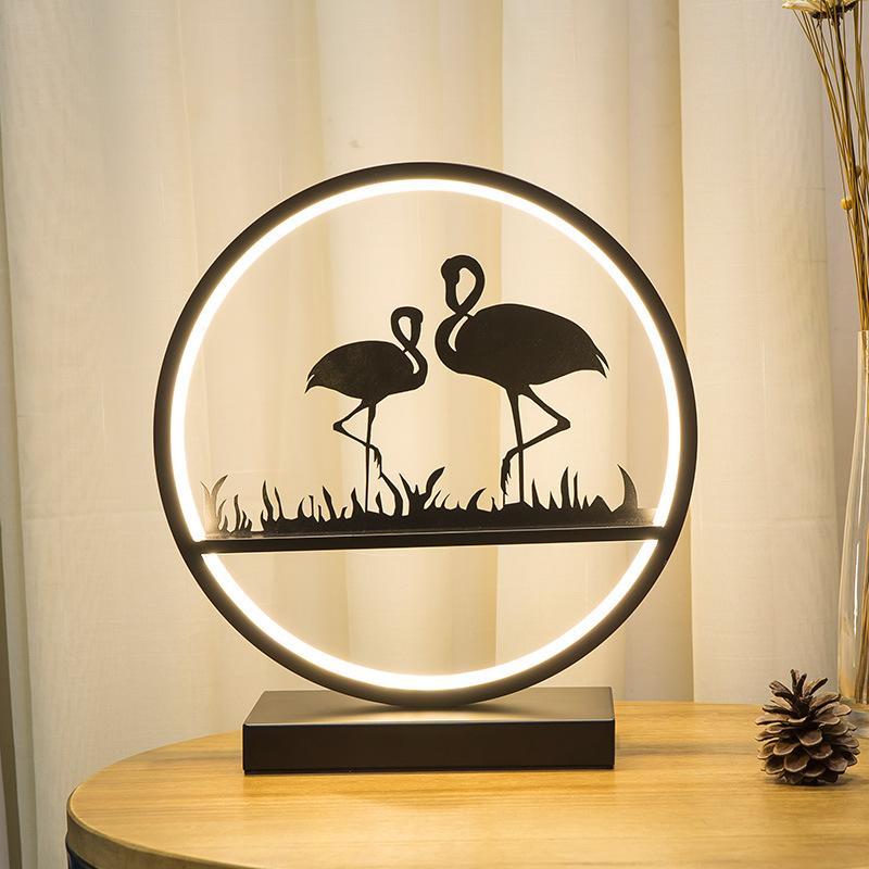Nordic Bedroom ночники для Столик светильнике RESIN Flamingo Тоторо слон ветряная мельница светодиодные настольные Свадебные огни Декоративные розовый Настольные лампы