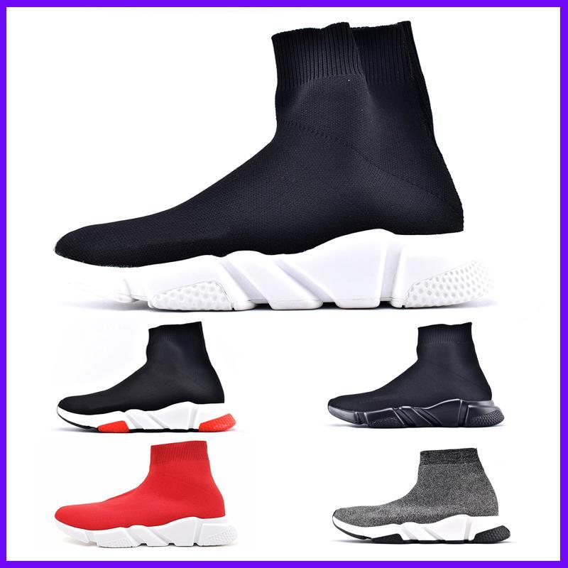 Marca de fábrica superior de lujo de las zapatillas de deporte de las mujeres de los hombres de París Trainer velocidad Negro Rojo Triple Moda calcetín cargadores al aire libre zapatos para la venta