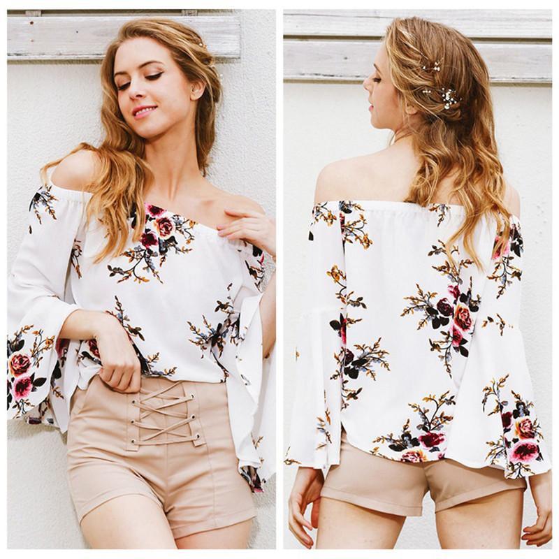 Femmes Chemises Hauts imprimé floral Chemise à manches longues en vrac Chemisier Mesdames bureau Chemises Encolure Batwing manches Blusas