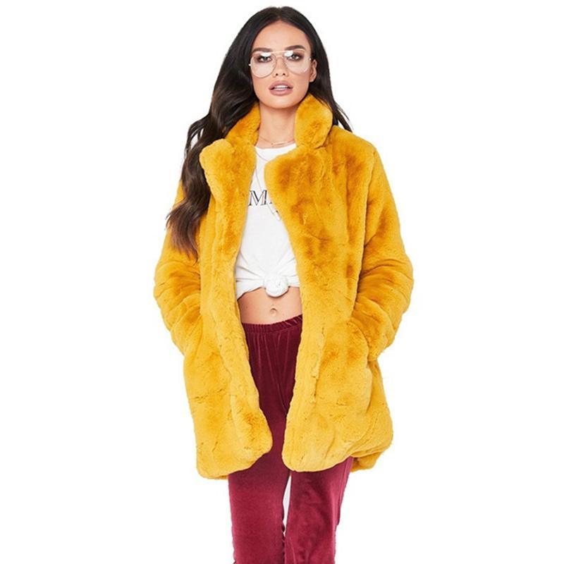 Plus Size 4XL Outono Inverno Mulheres Casaco De Pele Do Falso 2019 Moda Engrossar Casaco de Manga Longa Sólida Feminino macio Casacos De Peles fluff N362