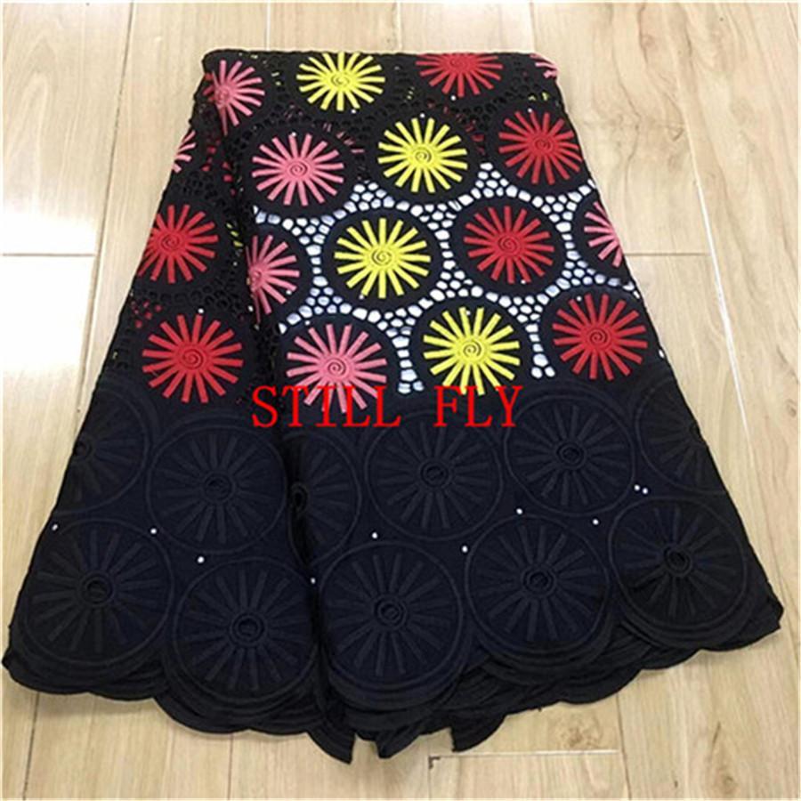 Venta al por mayor tela de encaje africano tela de dubai negro africano de alta calidad cordón suizo de la gasa en suiza encaje nigeriano 5 yardas / lote