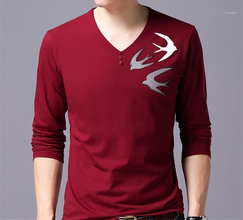Drucken Langarm-Pullover mit V-Ausschnitt T-Shirts Regular Länge dünne Oberseiten der Männer Dasigner beiläufige T-Shirts Tier