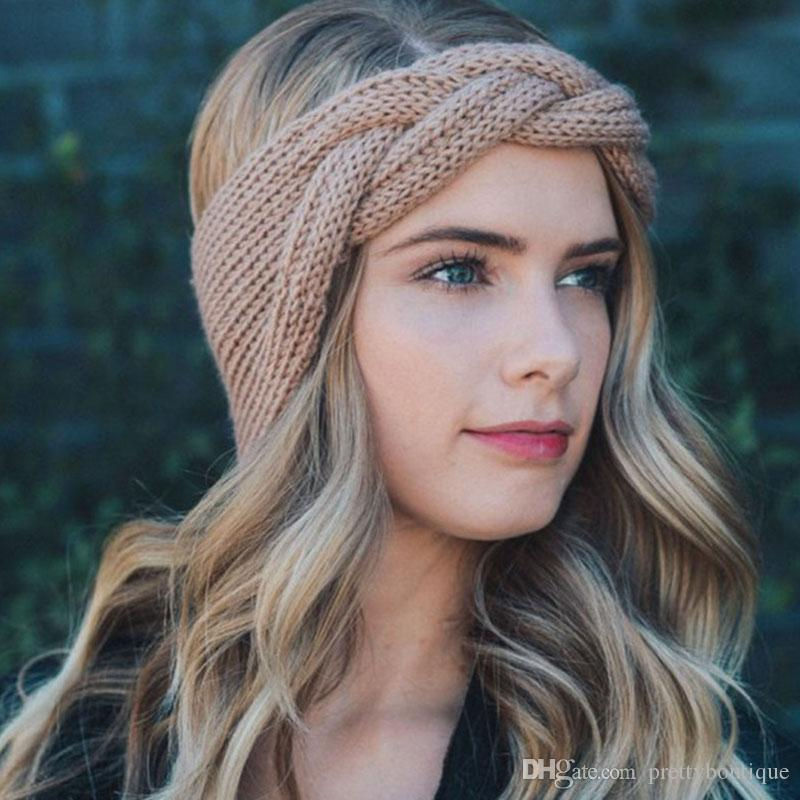 Handmade Fashion Girl Женщина оголовье Beanie уха грелки Вязаная крючком голову компресс тюрбан лук Boutique лента для волос H39