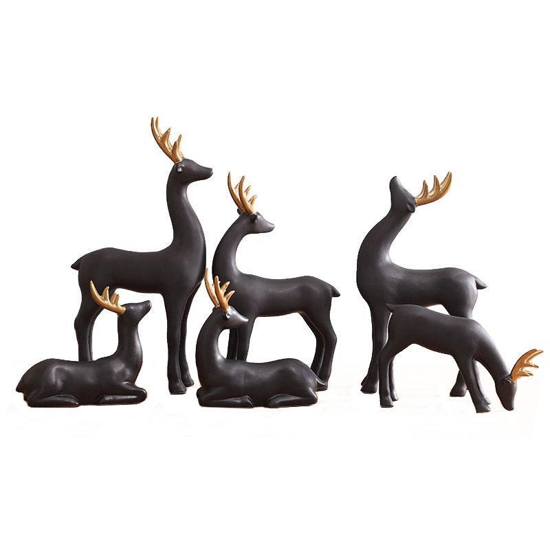 Черные керамические лося фигурки арт коллекция лесных оленей статуя набор домашних декор ремесел подарки животных украшения настольные центральные