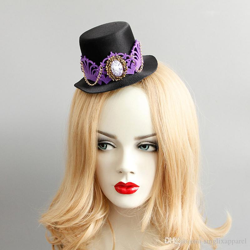 Black Fascinator with Rhinestone & Purple Crown Golden Chain Halloween Party Fascinator Hats Cospaly Photography Stage Performance Accessori