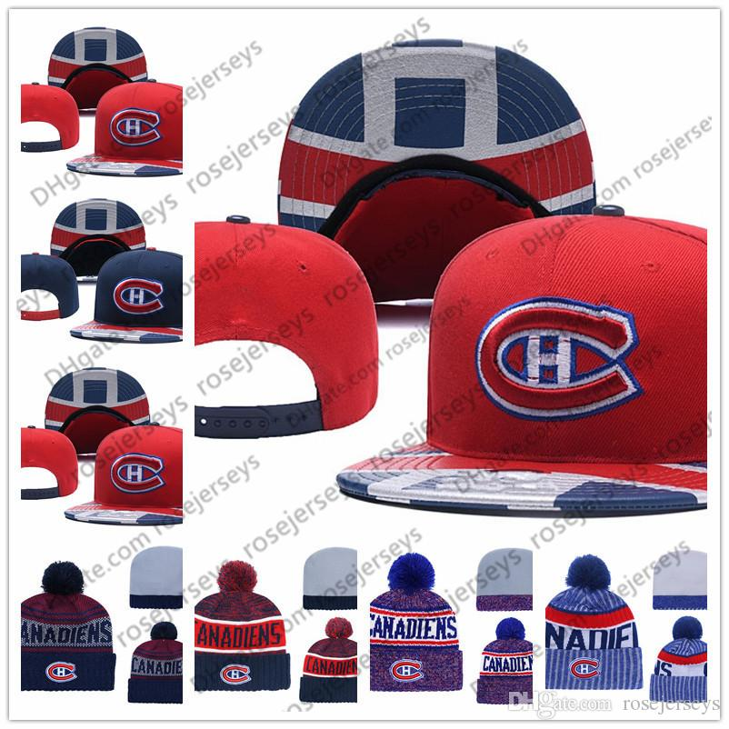 Montreal Canadiens Ice Hockey Knit Beanies Embroidery Adjustable Hat Embroidered Snapback Caps White Red Blue Stitched Hats One Size