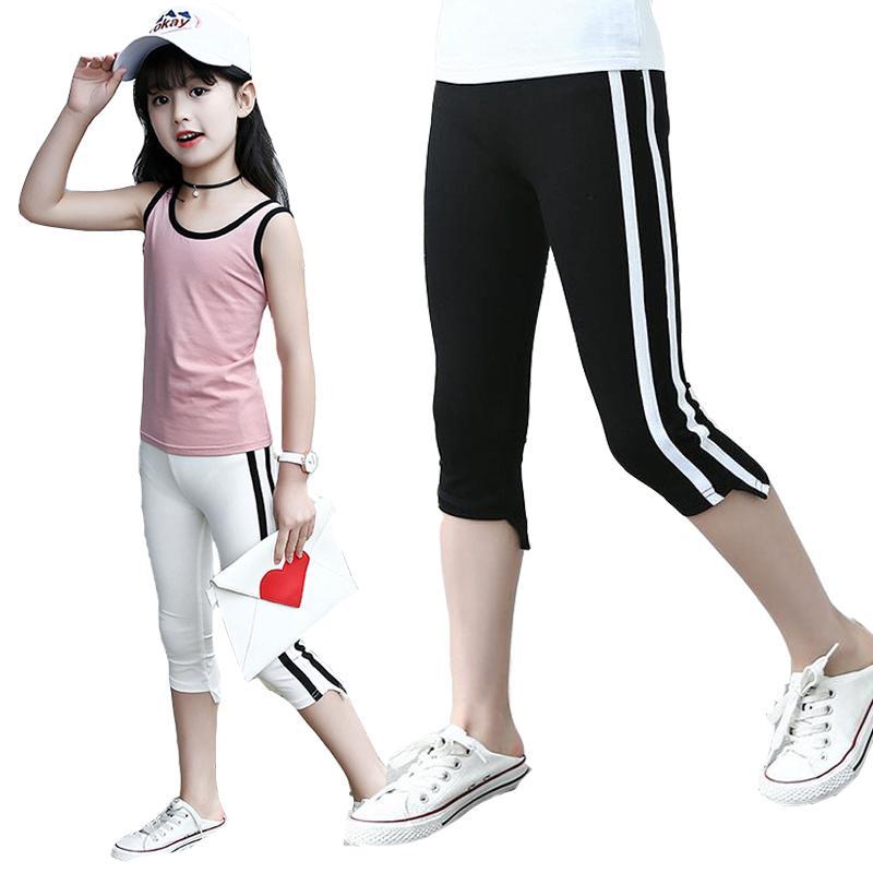 Kinder Leggings Für Mädchen Kinder Kleidung Baumwolle Seite Gestreifte Hosen Sommer Wadenlangen Hosen Teenager Mädchen Sportswear 3-14y