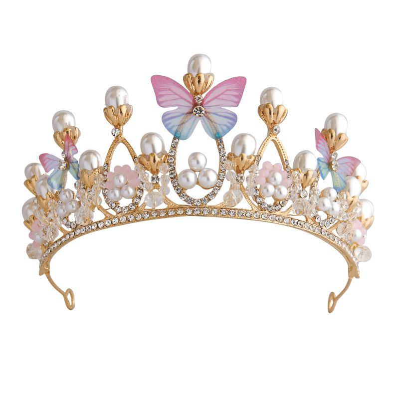 European Style Crystal Butterfly Bride Headdress Crown Princess Crown Wedding Hair Accessories Fashion Girl Banquet Accessories