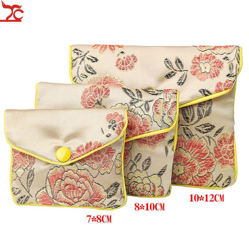 Элегантный Zipper Малый подарок ювелирных изделий хранения сумка Защитный чехол сатин Портмоне китайский Brocade ручной шелковой вышивкой проложенный