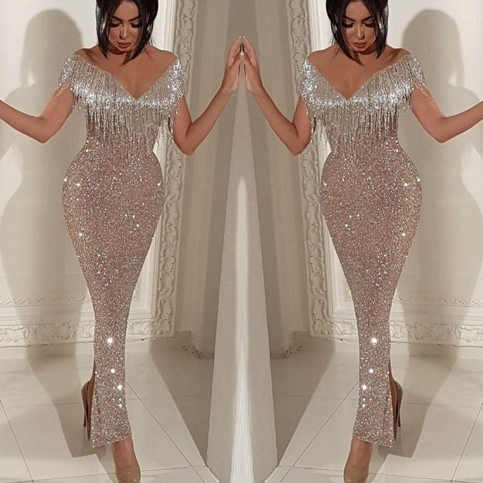 Bling ouro lantejoulas sereia vestidos de baile 2019 barato longo fora ombro v neck babados varrer trem vestidos de noite concurso formal