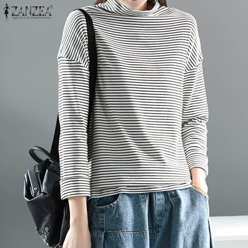 Stripe Blouse 2020 T-shirt vintage dolcevita di ZANZEA Women Casual manica lunga Blusas Femminile Pullover Plus Size tunica Tops 5XL