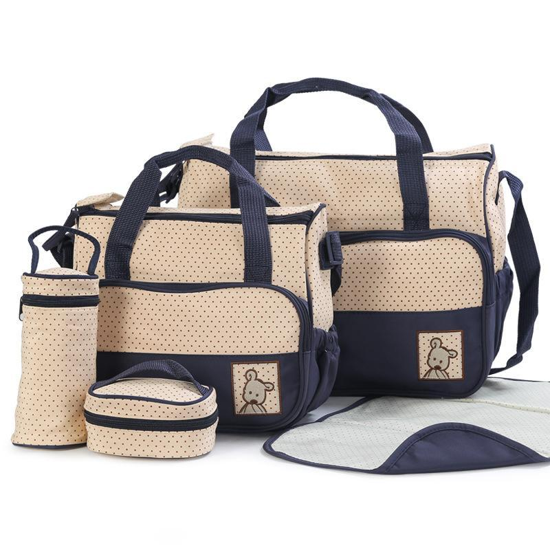 Hotsales fácil de transportar 5pcs saco de fraldas do bebê ternos para Mummy saco do bebê garrafa titular Stroller Maternidade Fralda Bolsas Sets