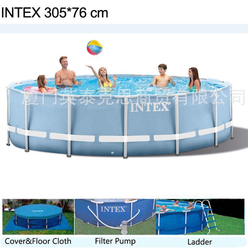 INTEX 305 * 76cm 원형 프레임 위 지상 수영장 세트 2019 모델 연못 가족 수영장 필터 Pumpf 커버 지상 천 사다리