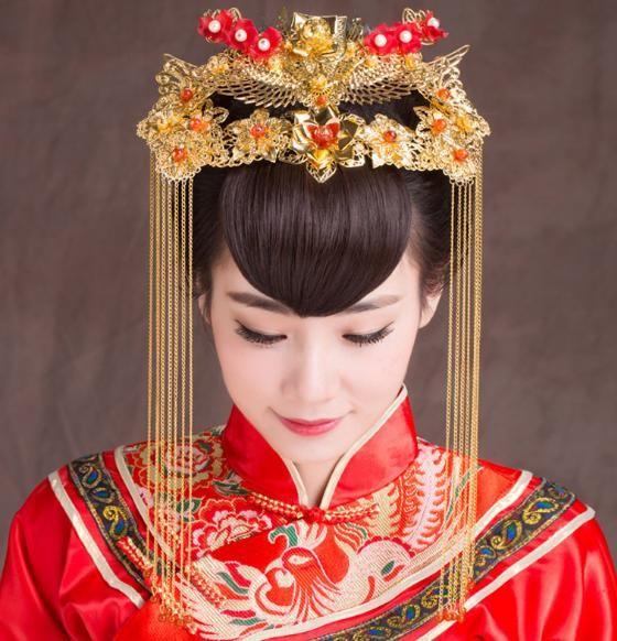 High-End-klassischer Brautkopfschmuck Retro chinesische Phoenix-Kronen-Haar-Zubehör Hochzeit Zubehör Kopf Blume A-40