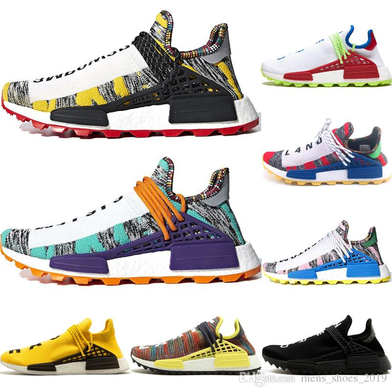 Cheap Solar Pack Human Race Running Shoes Men Women Nerd black cream Pharrell Williams mens Yellow White Red sports Women Equality sneakers