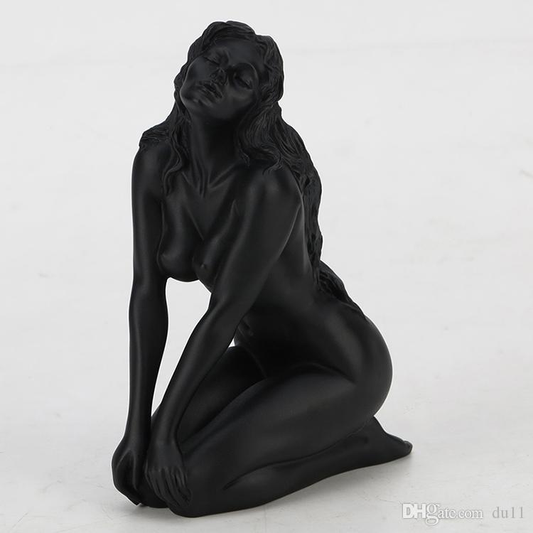Body Art Willoni Résine Art filles nues agenouillées, s'asseoir sur leurs genoux, bras sur leurs genoux