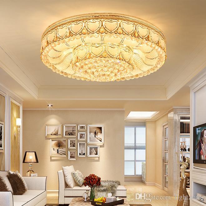 الثريا الكريستال الإضاءة الذهب الفاخر من الدرجة العالية K9 الكريستال جولة مصباح الثريا بهو الفندق فيلا بقيادة أضواء الثريات السقف