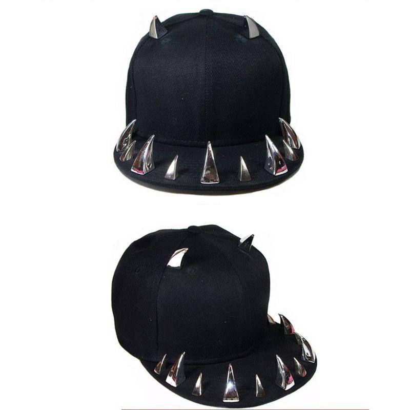 Hip Street gorra de béisbol unisex gótico punky Cuerno Remaches Hop Festival del sombrero del Snapback