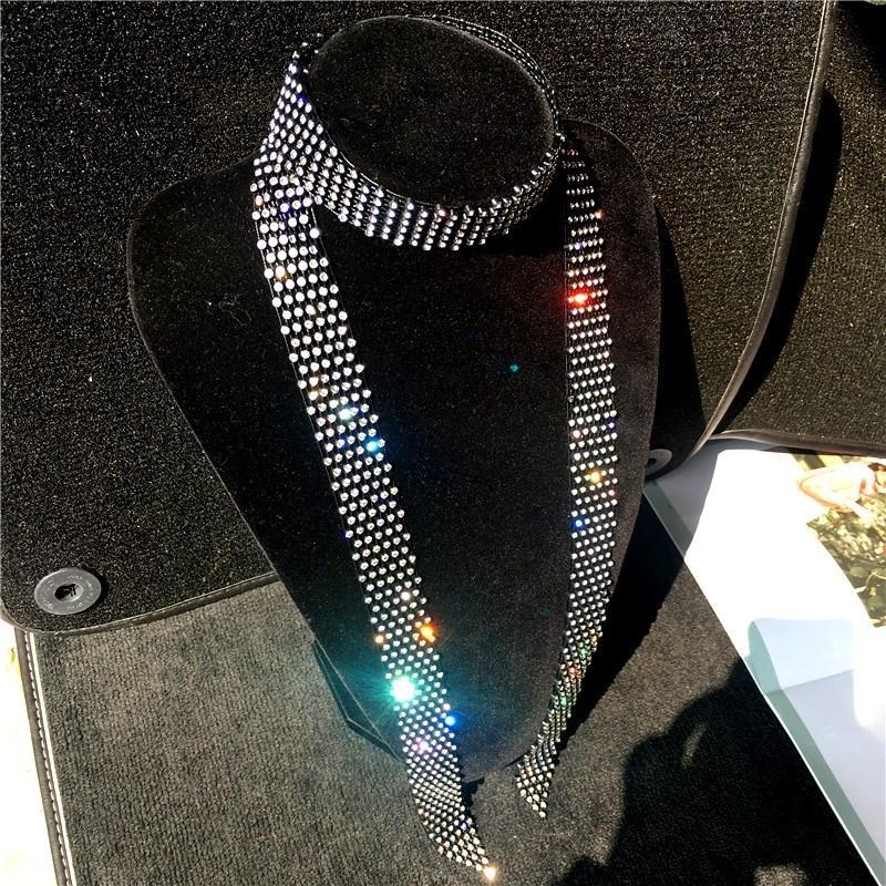 النساء المغني بلينغ الساطع الرقبة ربطة العنق التعادل مع كريستال الماس انفصال طوق بحار الرقص المرحلة مشاهدة اكسسوارات ملابس