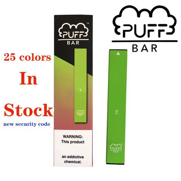 2019 Устройство горячего Puff Бар Одноразовая Pod Kit 280mAh Аккумулятор Vape Pen с кодом безопасности одноразовые Vape слоеные бары