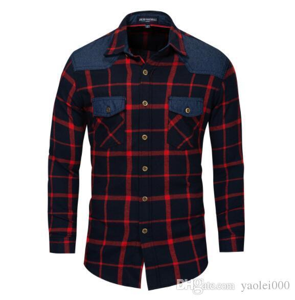 Luxury Men's Shirt Long Sleeve Spring and Summer Loose Fit Trendy Business Casual Shirt Stitching Plaid Size M-3XL