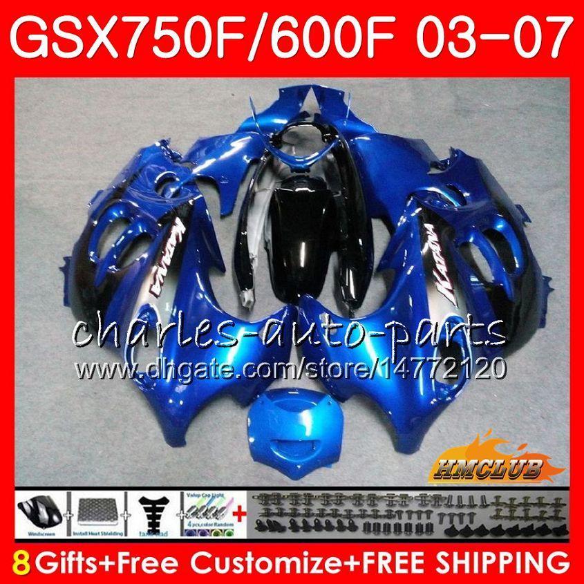 Body Kit voor Suzuki Katana GSXF600 voorraad Blauw GSXF750 03 04 05 06 07 3HC.39 GSX750F GSX600F GSXF 750 600 2003 2004 2005 2006 2007 Kuip