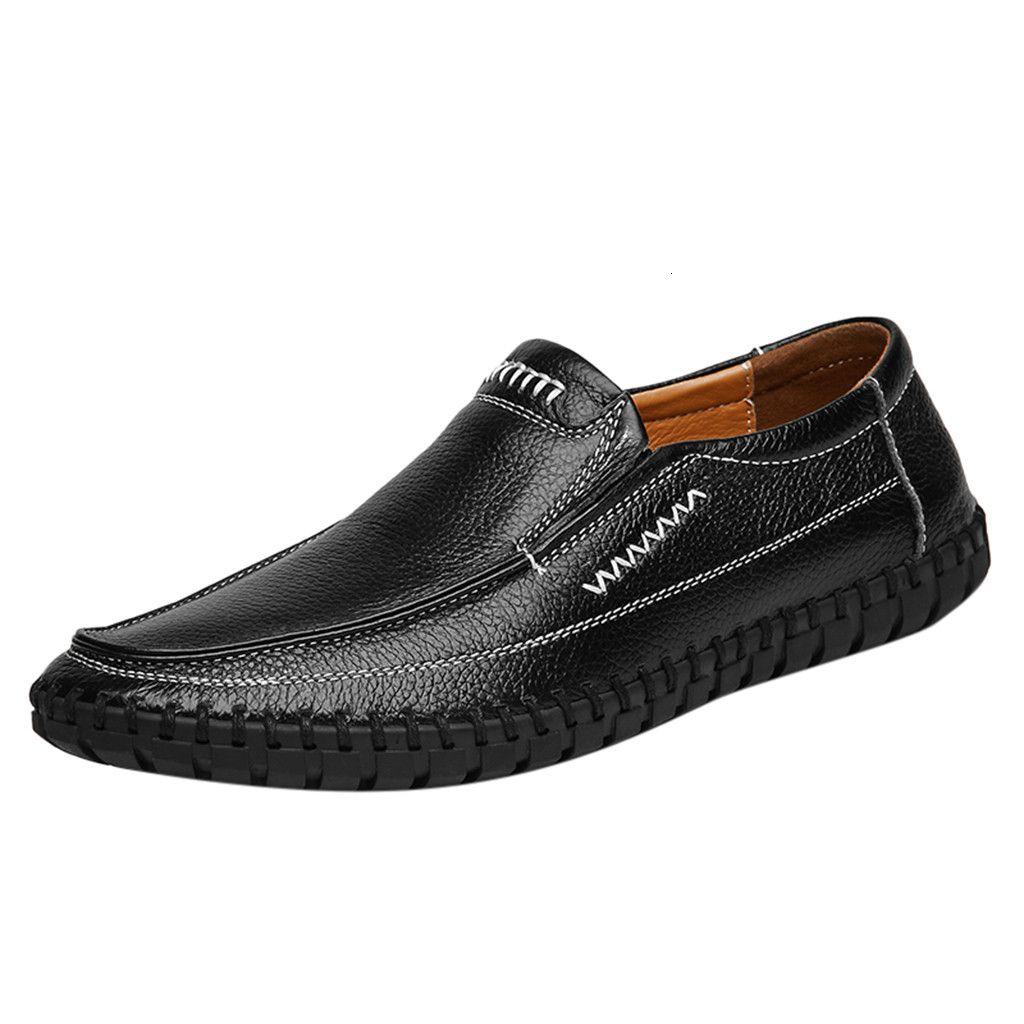 Sagace Zapatos de verano de los hombres de gran tamaño de los zapatos de cuero del negocio de los hombres de antideslizantes de manera suave Simplicidad guisantes zapatos ocasionales SH190929