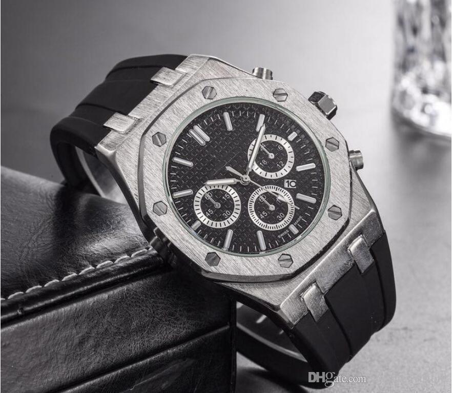 Top marca de Tamanho Grande Relógio Homens Designer De Luxo calendário automático Data relógio de Pulso de ouro Esportes estilo Militar silicone Big digital Masculino Relógio