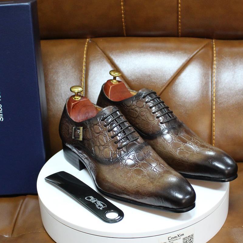 2020 otoño invierno de vestir de hombre hebilla de los zapatos atan para arriba Brogue boda del cuero auténtico formales Zapatos Oxford de oficina de negocios para los hombres