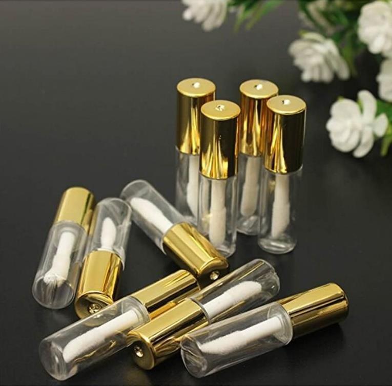 1,2 ml vacío brillo de labios tubos contenedores, botellas claras Mini recargable bálsamo para los labios con Insertos de goma y pipetas de transferencia para las Muestras de labios