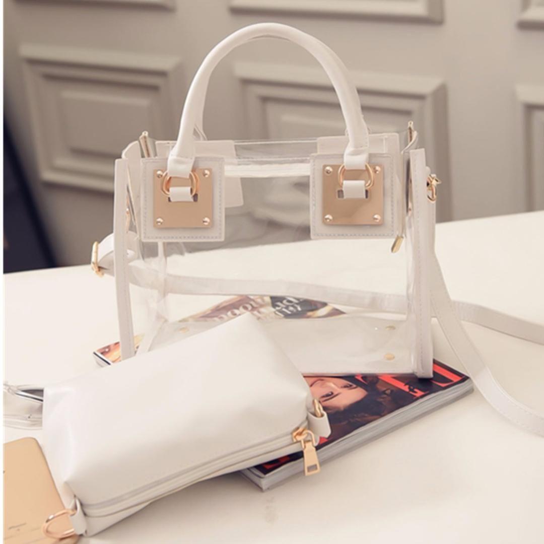 Diseñador-Osmond 2pcs / set Bolso transparente para mujer Conjunto de bolsas Bolsos transparentes de jalea de PVC Bolsas de asa superior para niñas Totes Bolso de playa compuesto de hombro