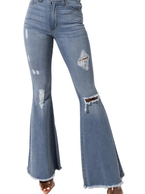 Cielo Blu Volare Distressed High Rise Flare Jeans
