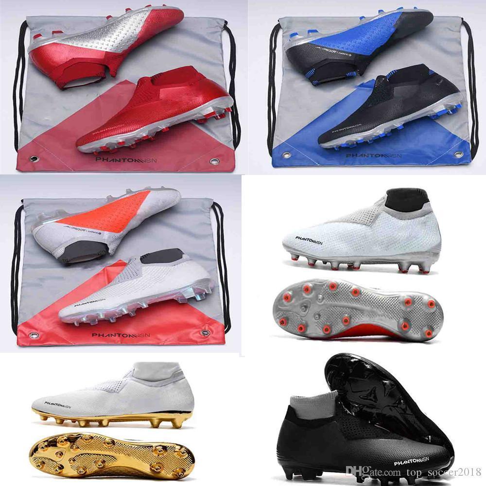 Nova fantasma visão Elite DF FG original chuteiras de futebol de couro sapatos de futebol mens meias Laceless Phantom VSN alta tornozelo ouro botas de futebol