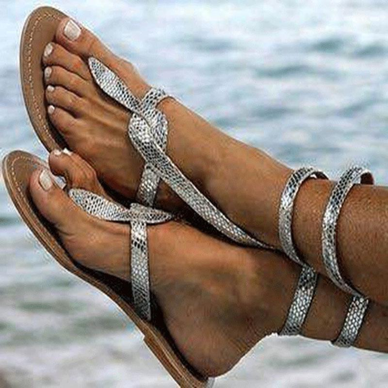 2020 Женские сандалии новые женские сандалии змея лодыжки обернуть пляжные квартиры зашнуровать летние туфли женщина Гладитор вьетнамки