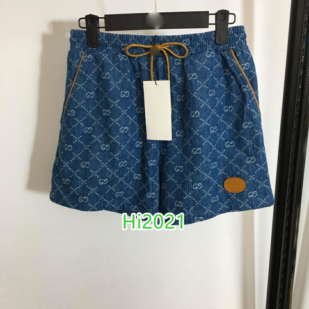 высокого класса женщины девушки джинсовые шорты повторяющийся письмо жаккардовые аппликация мульти карман эластичный пояс короткие брюк 2020 модный дизайн брюки