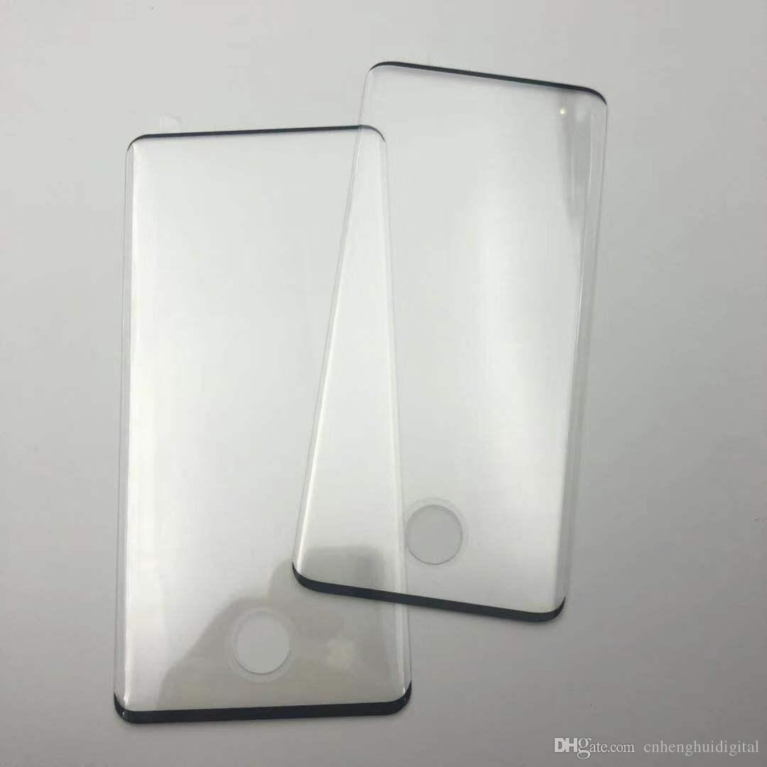 Para samsung galaxy s10 plus s10 case dureza 9 h dureza borda trabalho curvo protetor de tela de impressão digital de vidro temperado embalagem de varejo