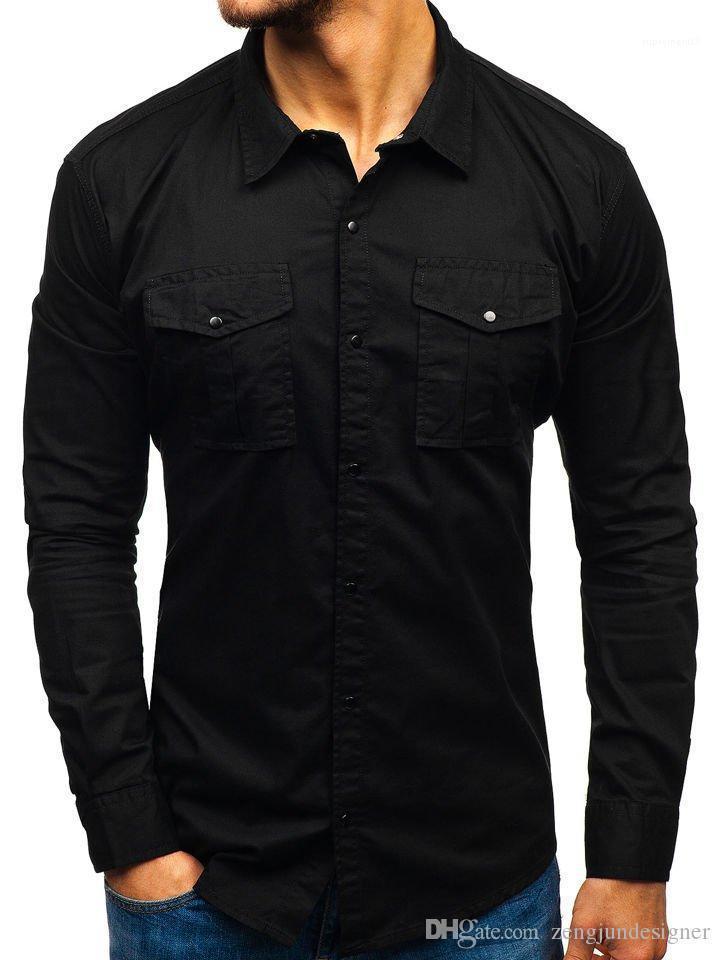 Manches collier vers le bas Tourner Régulier Homme Vêtements Solide Couleur Casual Vêtements Hommes Chemises Casual longues